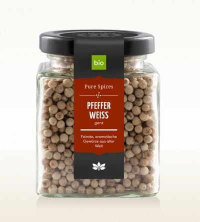 Organic Pepper white whole glass 120g